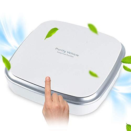 Hamkaw Luchtreiniger, autostofdesign, met dubbele luchtuitgang, ionengenerator voor auto, kantoor, USB-oplaadbaar tegen allergieën, rook, schimmel, stof, geluidsarm.