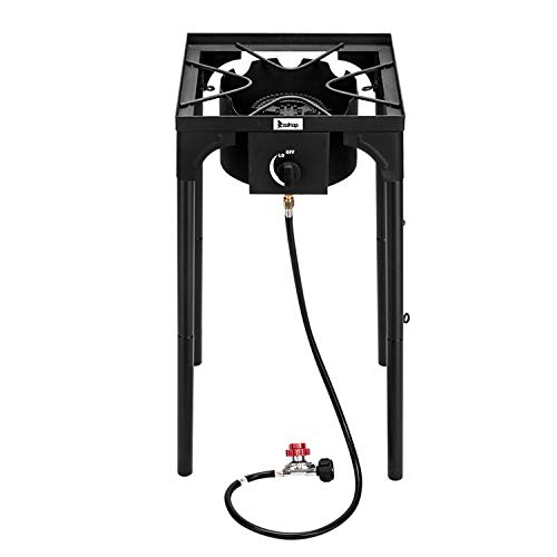 OTU Outdoor Camp Stove High Pressure Propane Gas Cooker Portable Cast Iron Patio Cooking Burner (Single Burner 75000-BTU),for Camping,Fishing,Parties,Tailgates Hunting and Home Brewing