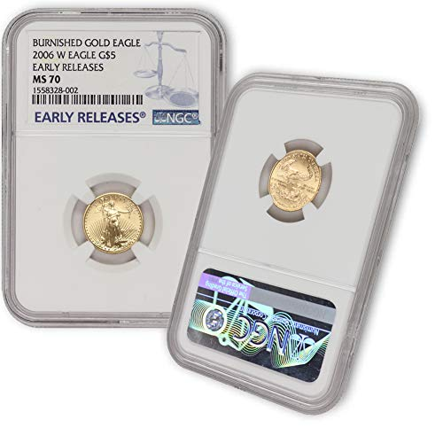 2006 W 1/10 oz Burnished Gold American Eagle MS-70 (Early Releases) by CoinFolio $5 MS70 NGC