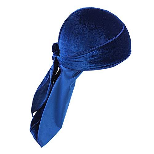 Milageto Sombrero de Bandana de Terciopelo Sólido para Hombres Transpirables Gorra de Turbante Durag Headwear - azul real, tal como se describe