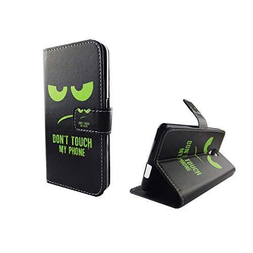 König Design Handyhülle Kompatibel mit Wiko Robby Handytasche Schutzhülle Tasche Flip Case mit Kreditkartenfächern - Don't Touch My Phone Grün Schwarz