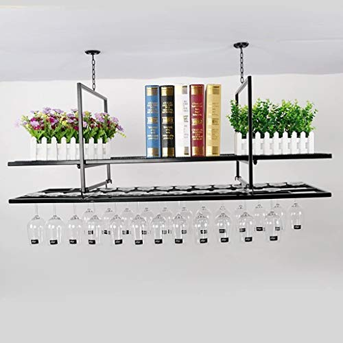 Wine Rack Creative Bar Upside Down Double Red Wine Glass Bar Bar Wine Glass Frame Red Wine Rack Hanging European-style Iron Foot Cup Easy To Install Storage rack (Size : 100cm)