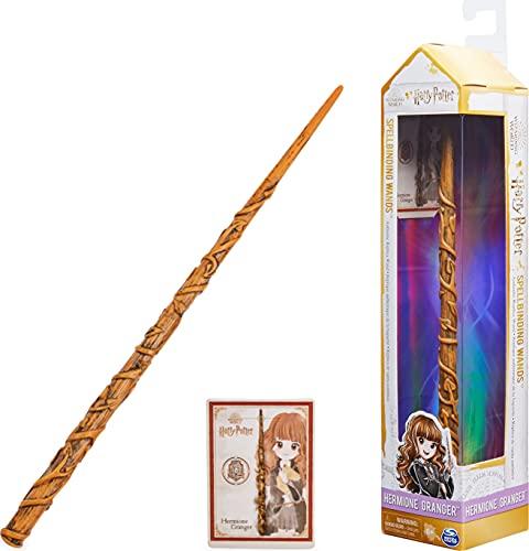 HARRY POTTER - BAGUETTE MAGIQUE DELUXE HERMIONE GRANGER WIZARDING WORLD - Baguette Magique Authentique Hermione Granger 30 cm Avec Carte de Sorts - 6062057 - Jouet Enfant 6 ans