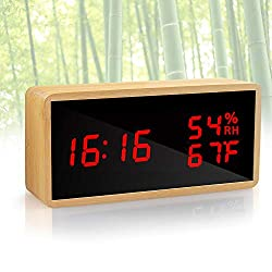 KABB Alarm Clock, Digital Clock, Natural Bamboo Material LED Desk Clock with Triple Alarms, Adjustable Brightness, Calendar Temperature Humidity Display and Voice Control Mirror Clock for Office Home