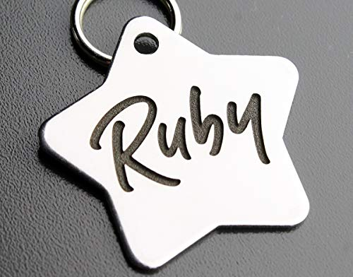 Stainless Steel Custom DEEP Engraved Pet ID Tags Personalized Front and Back Dog Tags for Dogs and Cats (Star 1-1/4
