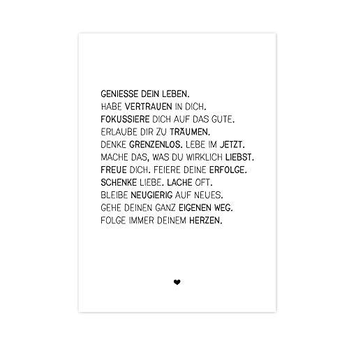 Wunderpixel® Kunstdruck Genieße dein Leben - auf wunderbarem Hahnemühle Papier DIN A4 | ohne Rahmen- schwarz-weißer FineArt-Print Poster zur Wand-Dekoration Wohnung/als Geschenk-Idee zum Geburtstag