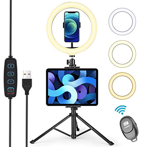 """Ring Light with Tripod Stand Tablet Cell Phone Holder, UFULA 10.2"""" Led Circle Light for YouTube Video Filming Online Teaching TikTok for Cell Phone and Tablet"""