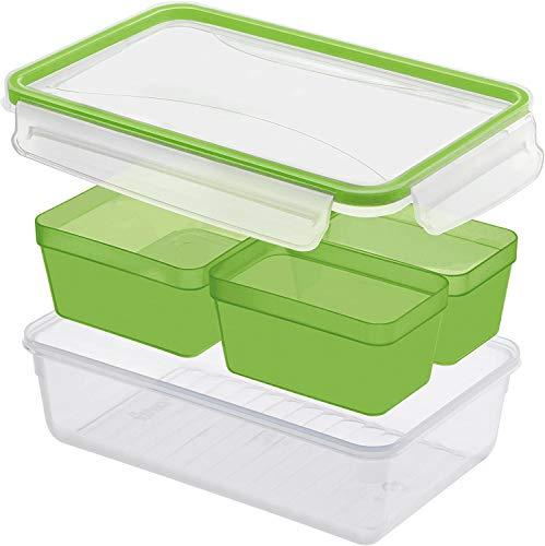 Rotho Clic & Lock Frischhaltedose 3l mit 3 Einsätzen, Deckel und Dichtung, Kunststoff (PP) BPA-frei, transparent/grün, 1,5l (23,9 x 16,0 x 7,0 cm)