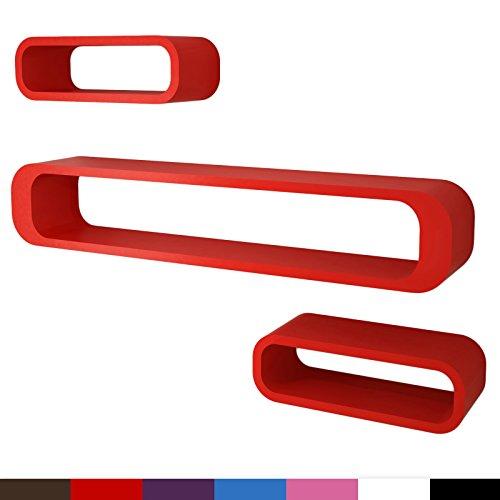 Miadomodo Mensola da muro parete set di mensole da 3 elementi design anni 70 colore rosso