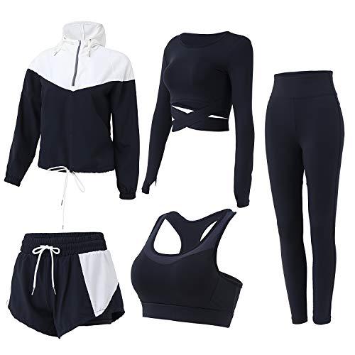 FRECINQ Tute da Ginnastica da Donna 5 Pezzi Tuta da Fitness Donna Abbigliamento Sportivo per Yoga Jogging Pilates Zumba Nero #2 S