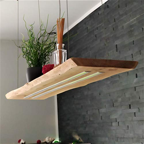 Deckenlampe Hängelampe Pendelleuchte aus Holz Holzlampe 5040 Lumen Eiche Massiv 120cm Hängeleuchte mit Unterlicht Unikat (Dimmbar)