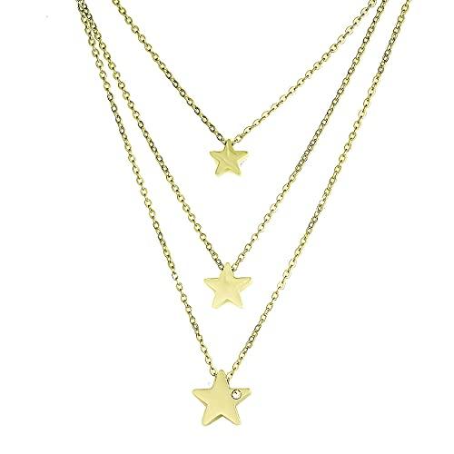 inSCINTILLE Collar de mujer de tres hilos de acero inoxidable con estrellas y punto de luz de circonita cúbica dorado