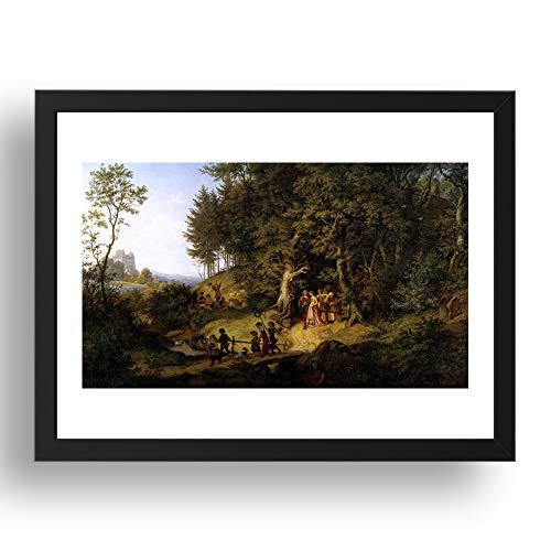 RICHTER, Adrian Ludwig: Bridal Procession Spring Landscape, arte vintage, impresión histórica, reproducción...