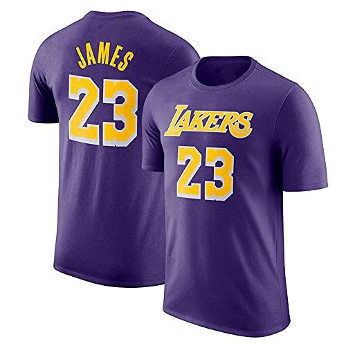 YZQ Camisetas para Hombre, Los Angeles Lakers # 23 Lebron James NBA Baloncesto Camisetas Casual Chalecos Deportivos Camisetas De Manga Corta,Púrpura,L(170~175CM)