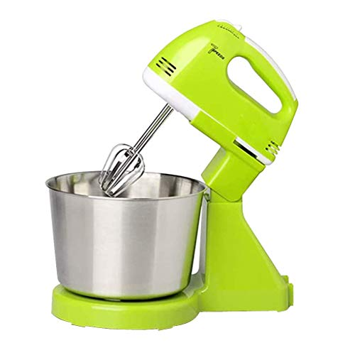 Blingko Rührmaschine Knetmaschine Küchenmixer 7,Küchenmaschine 100 W,Reduzierte Geräusche Knetmaschine mit Rührbesen,Elektrischer Standmixer Handrührgerät Mit Edelstahlschüssel (Grün)
