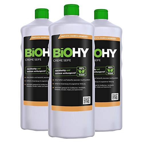BiOHY Savon crème liquide (3 x 1l Bouteille) | Recharge de Savon à Mains Doux, hydratant et inodore du Secteur végétal sans Phosphate | sans Parfum ni Colorant (Creme-Seife)