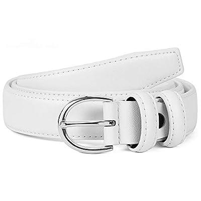 Women's Casual Leather Jeans Belts 1 inch Width Silver Prong Buckle Work Dress Belt, White Small
