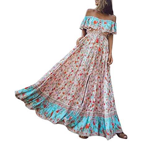 Elegante Kleider Damen Kleid Cocktailkleider Ronamick Damen Sommer Böhmisch gedruckt Taille V-Kragen Chiffon Lange Strandkleider(XL, Rosa)