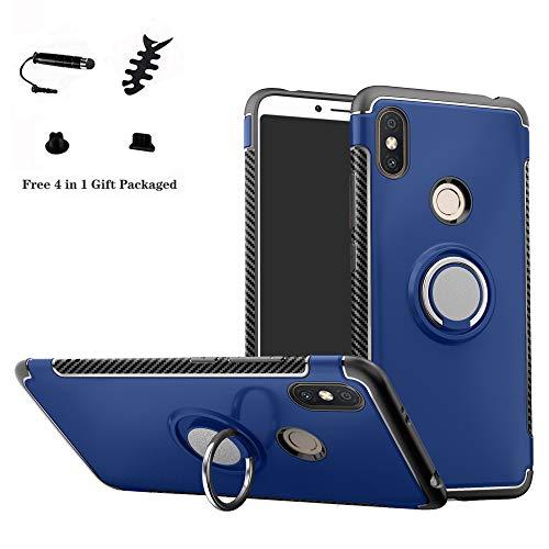 LFDZ Xiaomi Redmi S2 Anillo Soporte Funda 360 Grados Giratorio Ring Grip con Gel TPU Case Carcasa Fundas para Xiaomi Redmi S2 / Redmi Y2 Smartphone(con 4 en 1 Regalo empaquetado),Azul