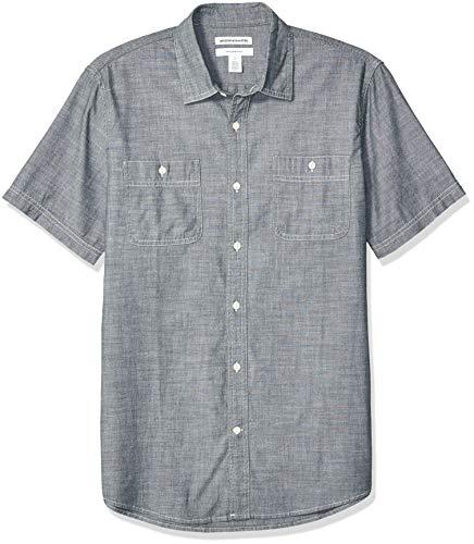 Amazon Essentials - Camisa de cambray con manga corta y corte entallado para hombre, gris, US M (EU M)