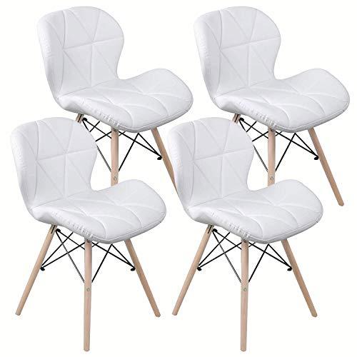 Nicemoods Set de 4 sillas de Comedor, Mariposa Tipo Respaldo Silla de Comedor, Inspirado Silla PU Re