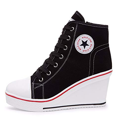 Qimaoo Damen Keilabsatz Schuhe Mädchen Canvas Sneaker Schuhe für Sport Freizeit - EU 38.5=CN 39(Schwarz)