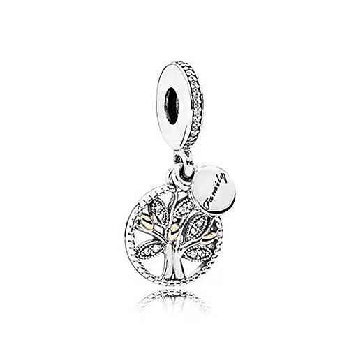 Romántico Amor Cuentas colgantes de plata con diseño de árbol de la vida para pulseras y collares Pandora (árbol genealógico 1)