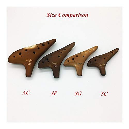 Okarina 12-Loch Ocarina Alto & SopranoC / G / F Key Smoked Brennvorgang Professionelle Keramik Zelda Flöte Musikinstrumente ( Color : Soprano G , Size : 13.5*6.5 cm )