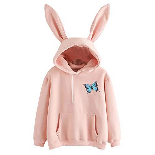 Top de manga larga para mujer, con capucha, sudadera con capucha, suéter de manga larga, blusa estampada para mujer, ideal como regalo de Pascua, San Patricio (beige-XL)