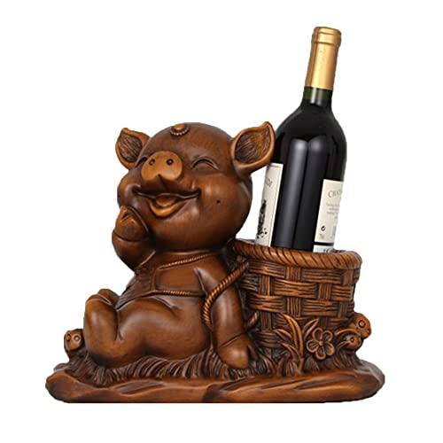 Portabottiglie da Tavolo in Legno Creative Zodiac Pig Scaffalature per La Conservazione delle Bottiglie di Vino Bianco Rosso (Size : 310 * 145 * 255 MM)