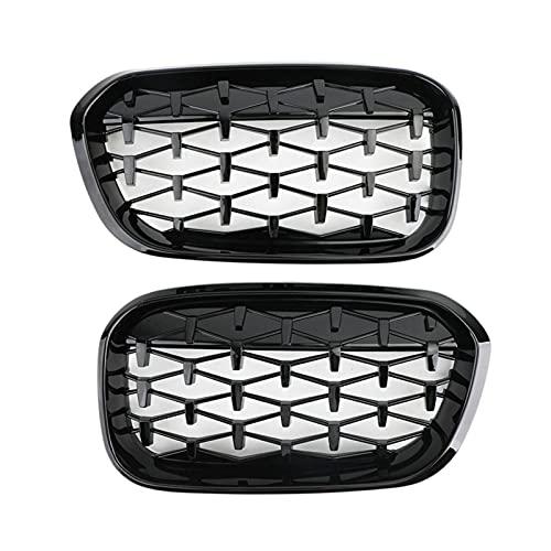 XIAOJIE Piezas exteriores parrilla delantera para riñón, parrilla de diamante para capó frontal, parrilla de meteoros para BMW Serie 1 F20 F21 LCI 2015-2017 negro (color: negro)