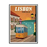 IUYTRF Vintage Lisboa Portugal pintura lienzo póster imágenes artísticas de pared para la decoración del hogar de la sala de estar -50x80 cm sin marco 1 Uds