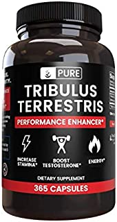 100% Pure Tribulus Terrestris | No Stearate or Rice Filler, 45% Steroidal Saponins, US-Made, Vegetarian, Non-GMO, Gluten-Free,1370mg Tribulus Terrestris with No Additives