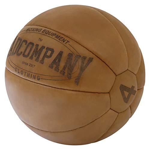 Bad Company Leder Medizinball in 10 Gewichtsstufen l Vollball aus hochwertigem Echtleder in braun 5 kg