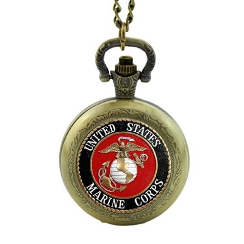 Nueva llegada Marine Corps Logo Reloj de bolsillo Estados Unidos Tema Relojes de bolsillo para hombres mujeres hombre militar