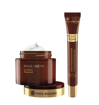 Yves Rocher RICHE CRÈME Pflege-Set regenerierende Intensivpflege, mildert Falten, Gesichtspflege-Set mit Anti-Aging Creme & Augenpflege, Geschenk-Idee