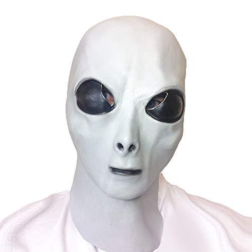Alien Latex Mask, Glow in The Dark, UFO Alien Outer Space Roswell Alien Mask Halloween Costume Headwear Party Adult Grey