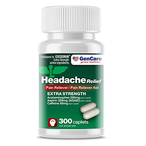 GenCare - Extra Strength Headache Relief Acetaminophen with Aspirin (NSAID) & Caffeine (300 Caplets) Value Pack | Head Pain Relief, Muscle Aches, Back Pain & Body | Generic Excedrin Extra Strength