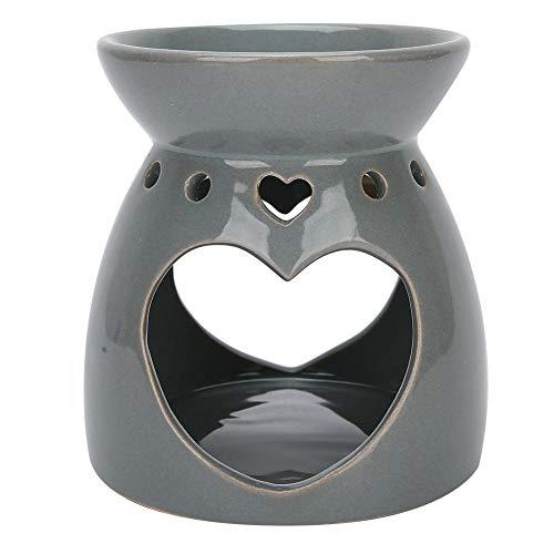Quemadores de aceite para candelabros, horno de aroma de cerámica soportes para incienso aceite esencial para interiores horno ardiente de aromaterapia para el hogar dormitorio spa decoración(Gris)