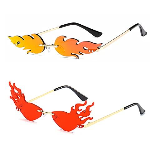 2 Piezas Gafas de Sol de Llama de Fuego de Moda, Gafas de Sol de Onda sin Montura,Vintage Polarizadas Mujer Hombre Protección Gafas, para Gafas de Fiesta Unisex-Adultas