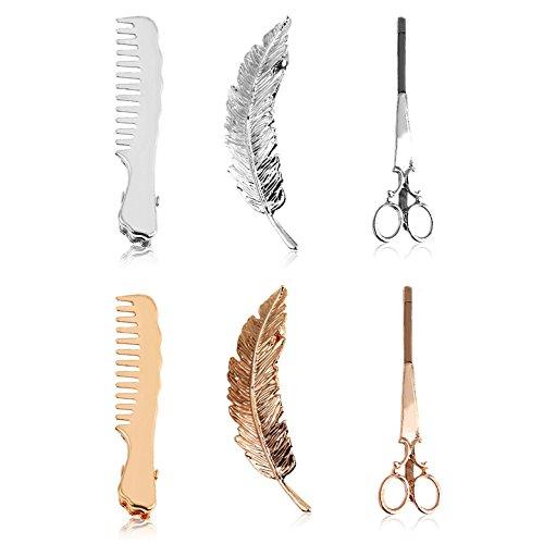 6 Stuks Haar Clip Set, Kleine Kam Schaar Haarspeld Veer Boom Blad Tondeuse Haarspeldjes Styling Accessoires voor Vrouwen