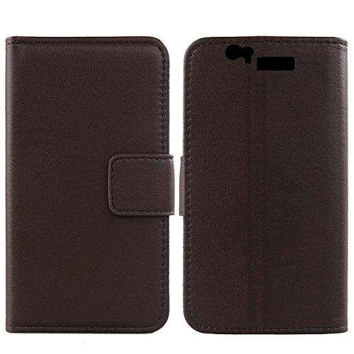Gukas Design Genuino Cuero Case para BQ AQUARIS 5.7 / FNAC PHABLET 5.7 Flip Billetera Funda Carcasa De Lujo Autentico Ranuras Tarjetas Piel Premium Cover (Marron Oscuro)