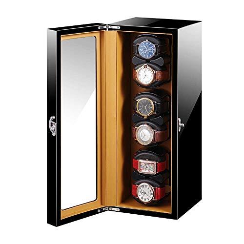 SLM-max Enrollador de Reloj automático,Enrollador automático de Reloj, Suave y Flexible, Adaptador de CA para Almohada y Pintura de Piano Negra con Pilas, Exterior (