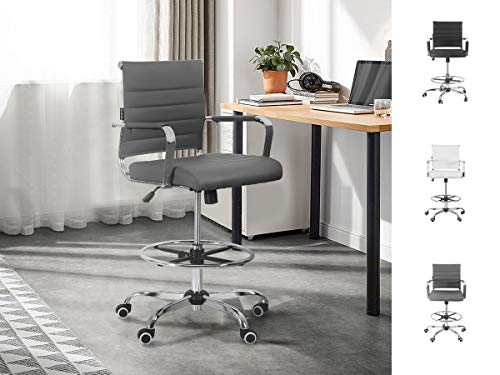 Drafting Chair Stool Office Ergonomic Footrest Leather – Tall Arms Footrest Height Adjustable Ribbed Mid-Back Tilt-Tension Control Rocker Lumbar Support Swivel Rolling Cushioned 400lb BIFMA (Grey)