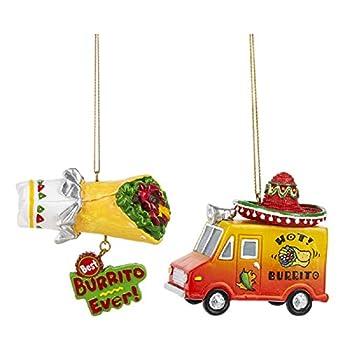 Ganz Fiesta Burrito Food Truck and Burrito Christmas Holiday Ornaments Set of 2