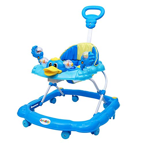 Nishu Soft Seat Baby Walker with Handle, Adjustable Height and Musical Tray and Toys (6 Months to 3 Years) Colour - Blue, RED, Pink(Design & Colour May Vary)