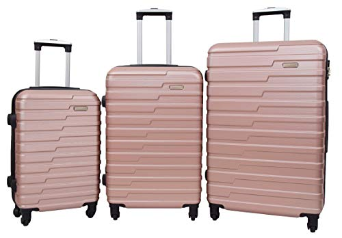 4 Wheels Hard Shell Suitcase Lightweight Strong Travel Luggage HLG303 Rose Gold (Full Set 3 Sizes)