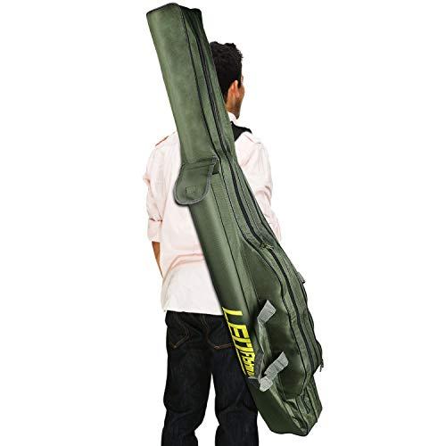 釣竿ケース ロッドケース折畳 持ち運び便利 ポータブル 釣りロッド 釣り竿 フィッシングバッグ タックルバッグ 肩掛け 大容量 竿袋 釣り竿入れ 収納 (1.5M)