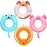 Inflatable Pool Tube Cartoon Swim Ring for Kids Animal Pool Float Ring Toys for Summer Beach Swimming Pool Party (4Pack