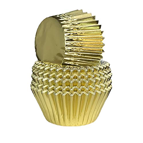 Pinwei 100 Pieces Standard Cupcake Cup Liners, Foil Baking Cups, Foil Cupcake Liners for Baking Muffin and Cupcakes Decoration Cups (Gold)